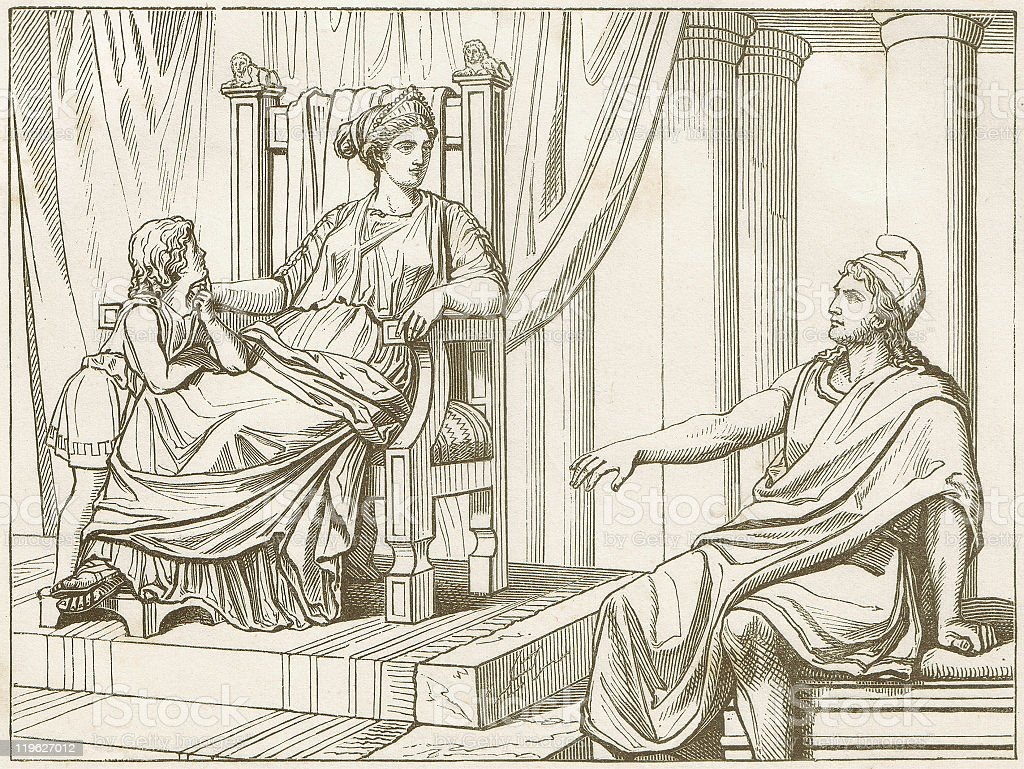 Aeneas tells Dido of his fates, wood engraving, published 1883 royalty-free stock vector art
