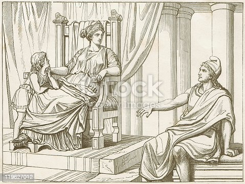 istock Aeneas tells Dido of his fates, wood engraving, published 1883 119627012