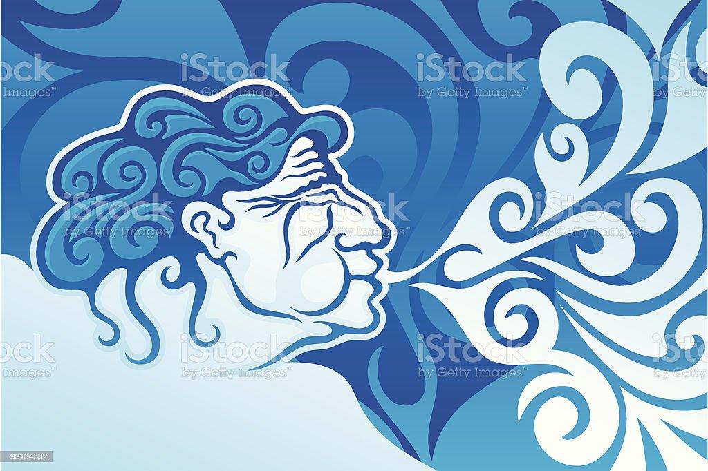 Aeolus de vientos con cama king - ilustración de arte vectorial