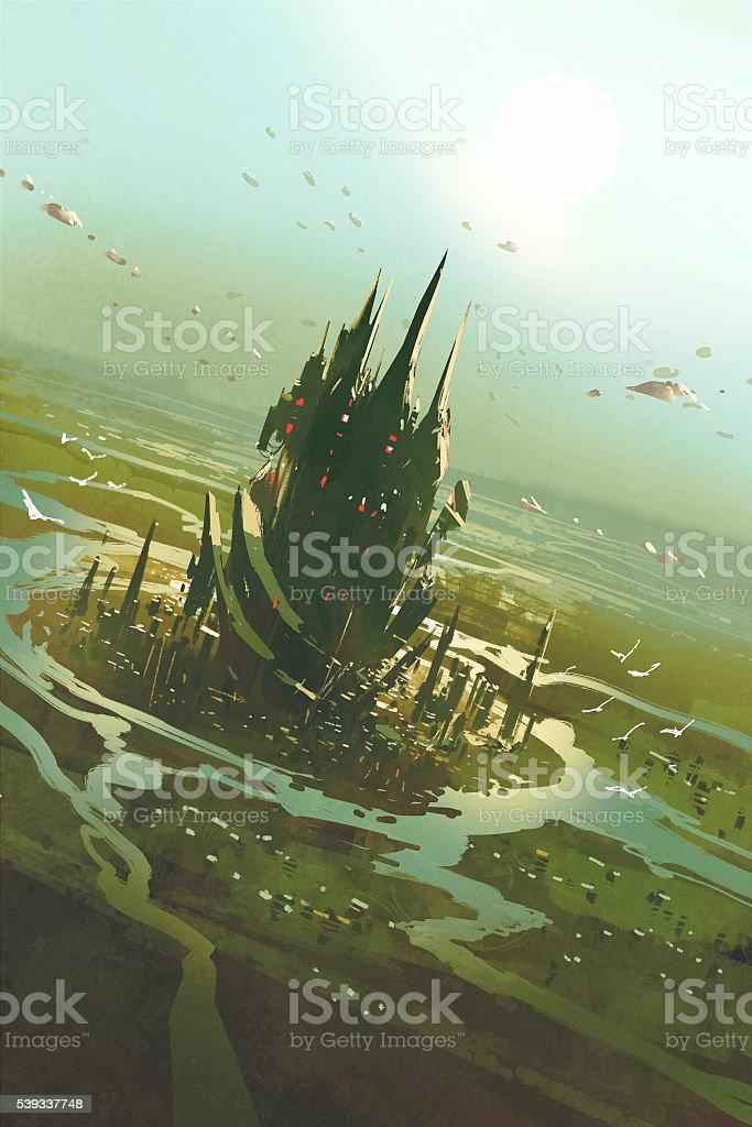 aerial view of a futuristic city,sci fi scenery vector art illustration