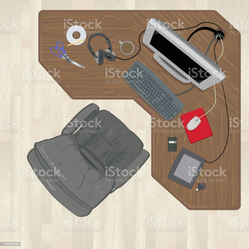 Aerial view of a messy desk royalty-free aerial view of a messy desk stock vector art & more images of aerial view