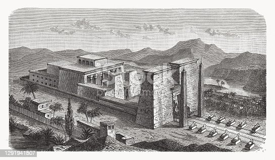 Aerial view of an Egyptian temple. Wood engraving, published in 1893.