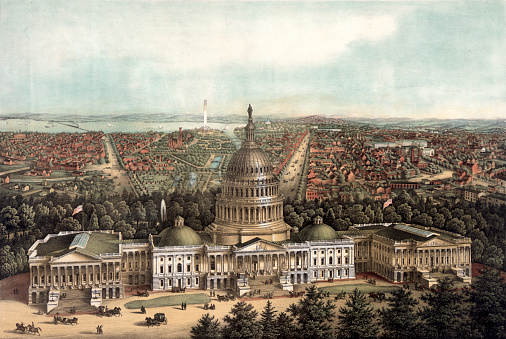 This 1871 vintage illustration shows an aerial view of Washington, D.C.