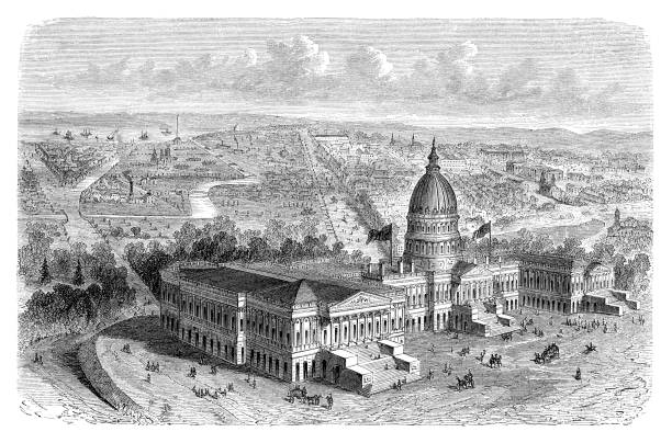Aerial view of Washington D.C. with Capitol in the United States 1880 Engraving showing City of Washington in the United States Original edition from my own archives Source : Illustriertes Konversations Lexikon 1880 now in public domain 1880 stock illustrations