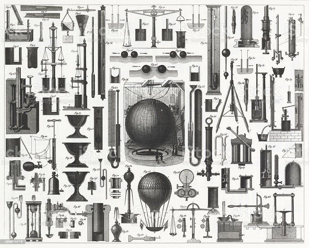 Aerodynamics Engraving vector art illustration