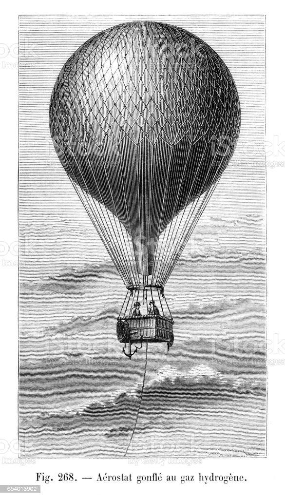 Aerostat using hydrogen engraving 1881 vector art illustration