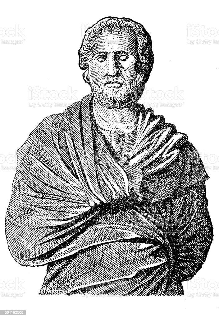 Aeschines (389-314 BC). Greek statesman, one of the 10 Attic Orators vector art illustration