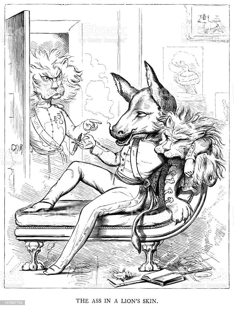 Esopo di favole-Ass in pelle di leone - illustrazione arte vettoriale