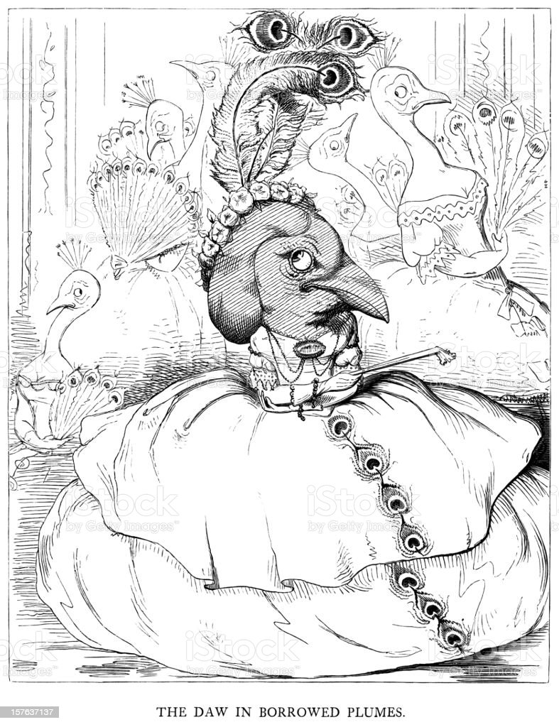 Aesop's Fables - The Daw in Borrowed Plumes royalty-free aesops fables the daw in borrowed plumes stock vector art & more images of 1850-1859