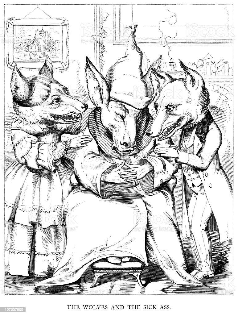 Ésope les Fables-Wolves et les malades Association - Illustration vectorielle