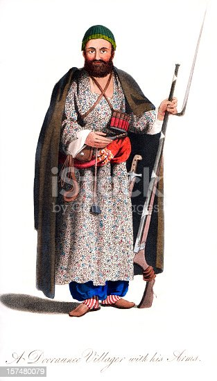 Vintage colour engraving from 1819 showing an Afghan Dooraunee Villager with his Weapons  [b]View More:[/b] [url=http://www.istockphoto.com/file_search.php?action=file&lightboxID=6058311][img]http://www.walker1890.co.uk/istock/istock-hc.jpg[/img][/url][url=http://www.istockphoto.com/file_search.php?action=file&lightboxID=2789749][img]http://www.walker1890.co.uk/istock/istock-engraving.jpg[/img][/url]