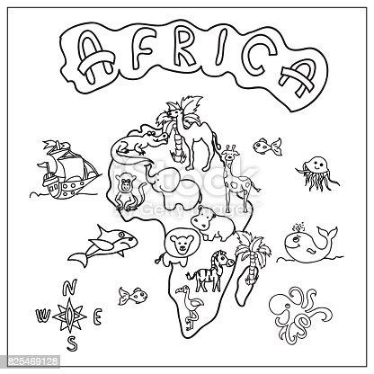 Afrika Kıta çocuklar Harita Sayfa Boyama Stok Vektör Sanatı Ada