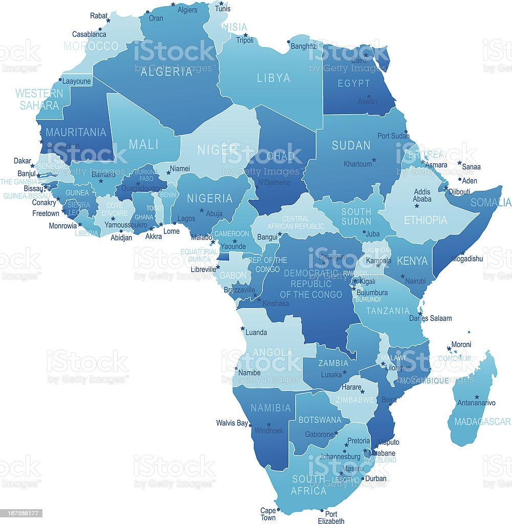 Africa - highly detailed map royalty-free stock vector art