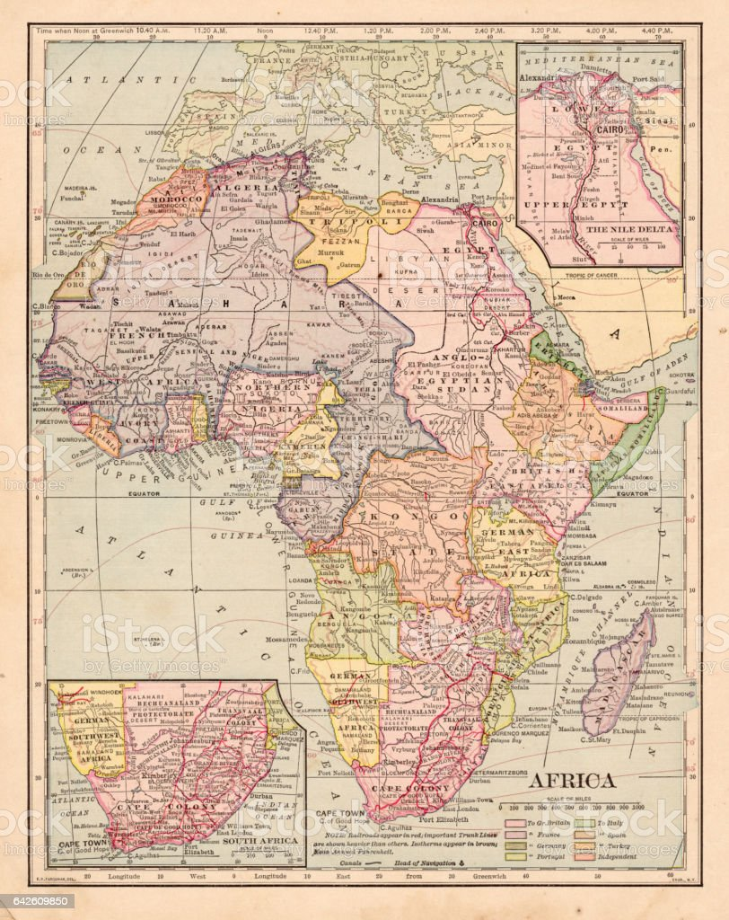 Carte Afrique Tl.Carte De Lafrique 1898 Vecteurs Libres De Droits Et Plus D