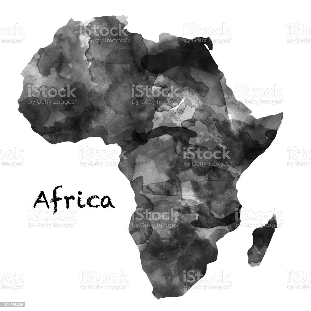 Afrika Harita Mürekkep Boyama Suluboya Siyah Ve Beyaz Renkli Beyaz