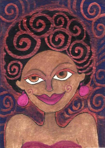 African American Disco Girl vector art illustration