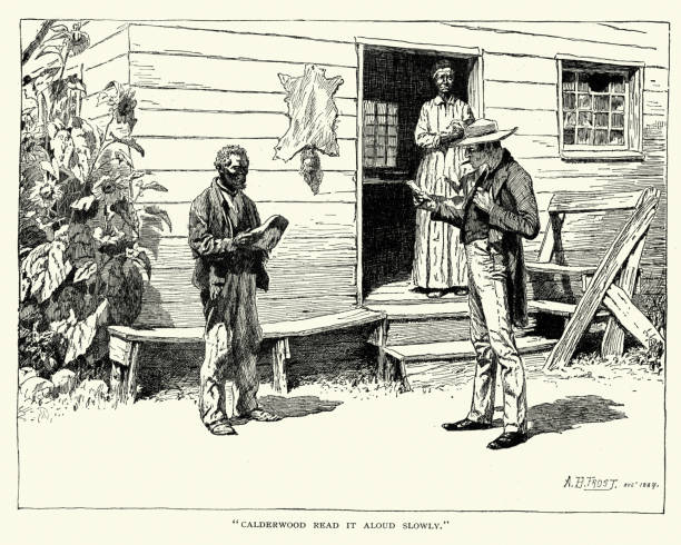 African American man and slave owner, 19th Century vector art illustration