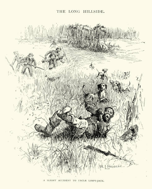 African american man caught poaching hare in the Southern USA vector art illustration