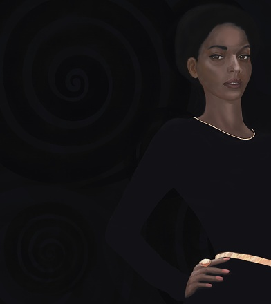 African American model in a dark dress on a dark decorative background. The gaze is directed towards the viewer