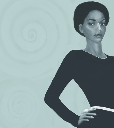 African American model in a dark dress on a monochrome decorative background. The gaze is directed towards the viewer