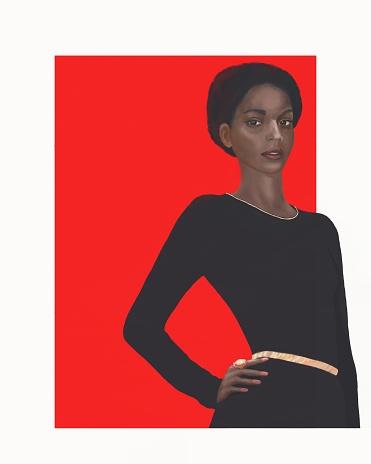 African american model in dark dress