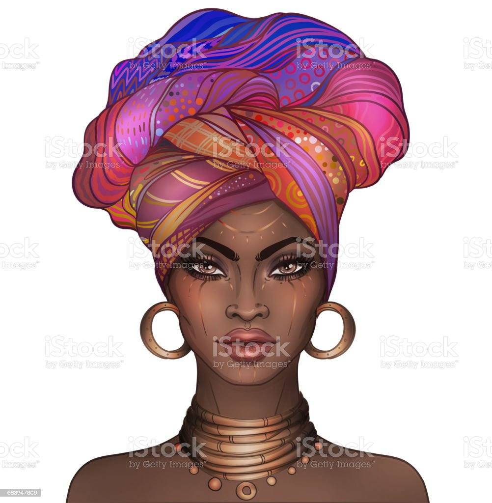 African American pretty girl vector art illustration