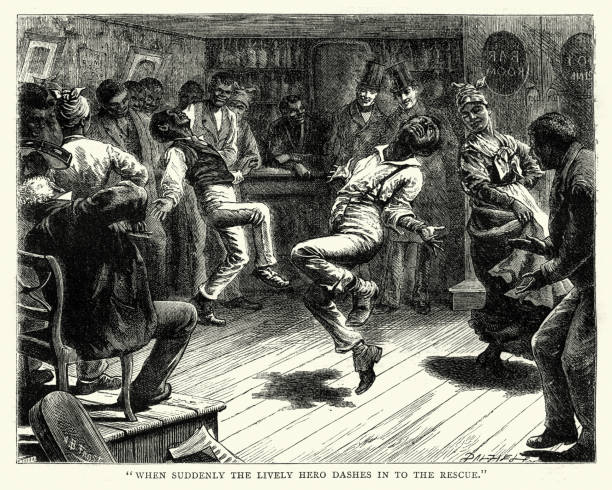 African americans dancing in a bar, 19th Century vector art illustration