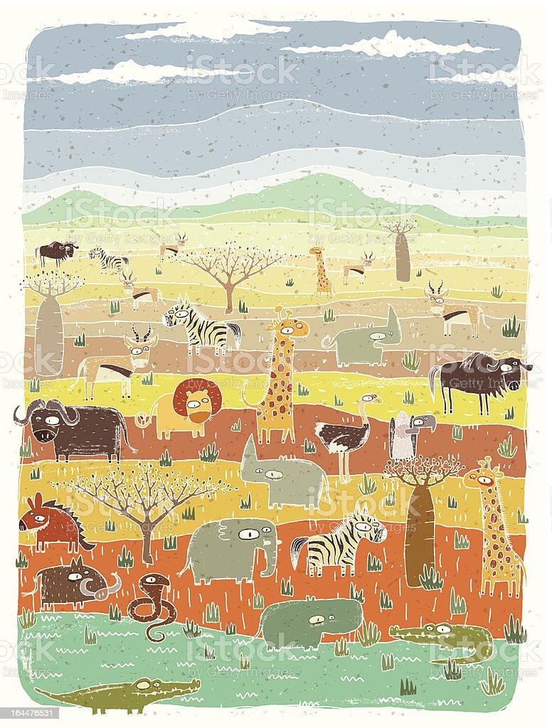 African Animals on Savannah Background vector art illustration