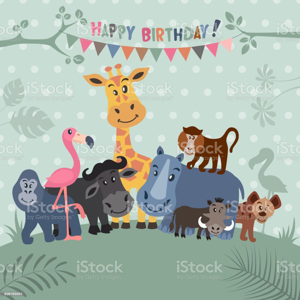 African Animals Party Invitation Stock Vector Art & More Images of ...
