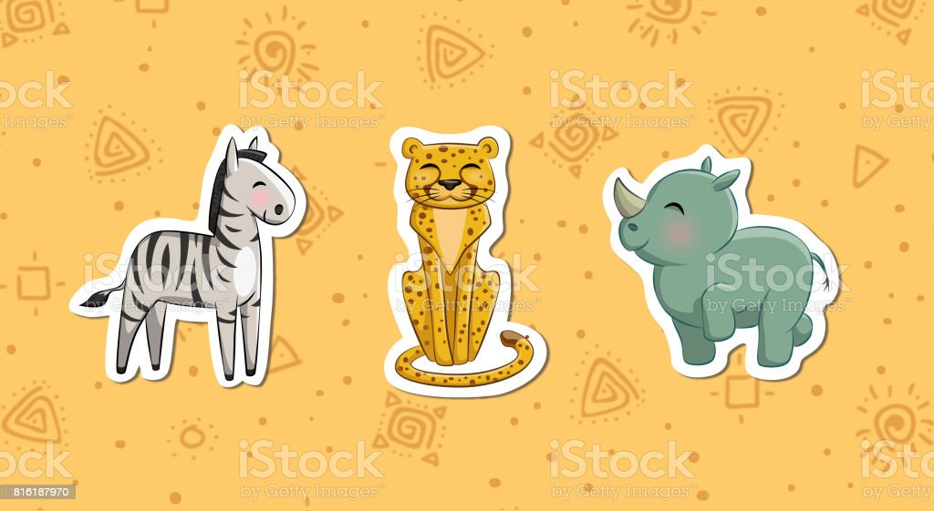 African animals2 vector art illustration