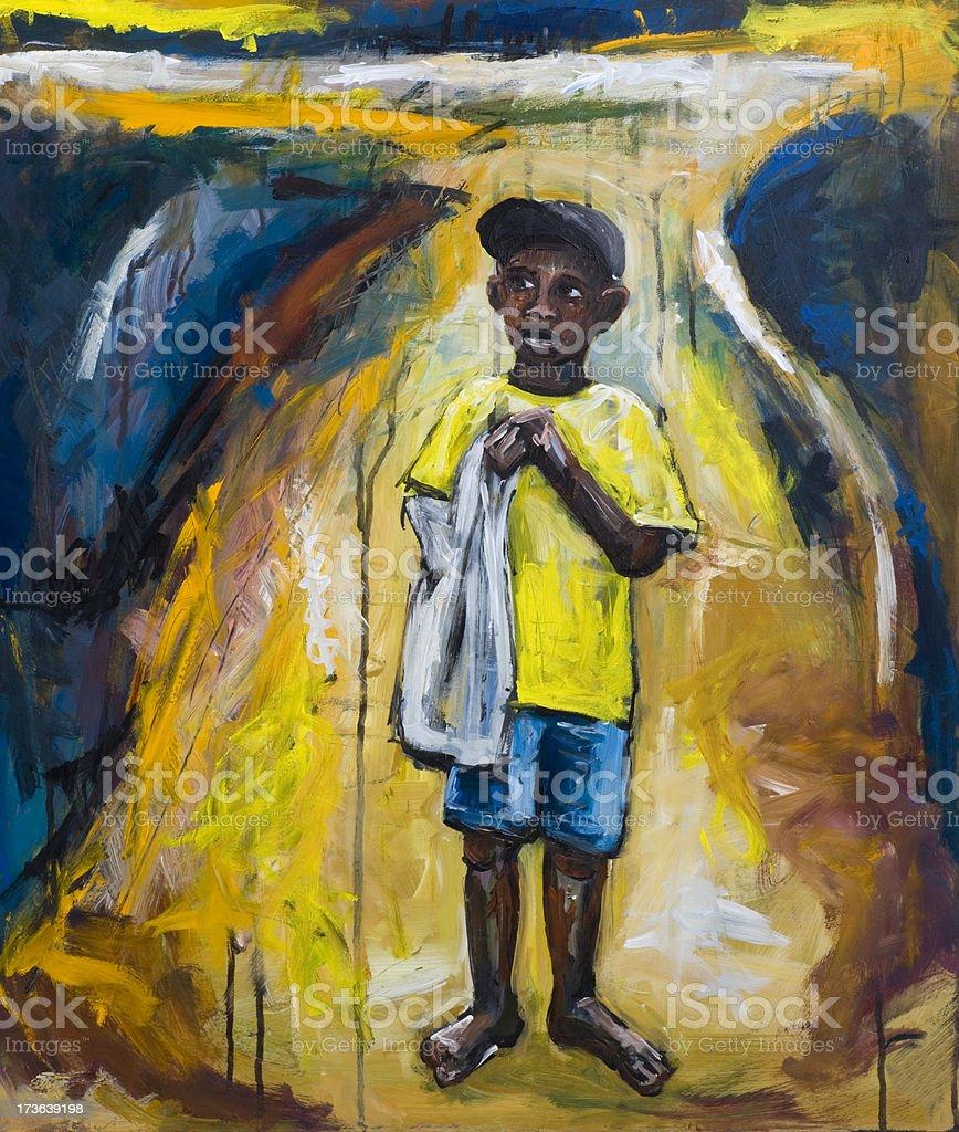 African  boy vector art illustration