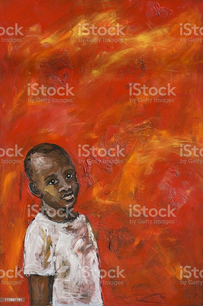 African boy on red background royalty-free stock vector art