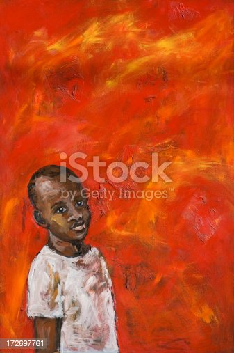 istock African boy on red background 172697761