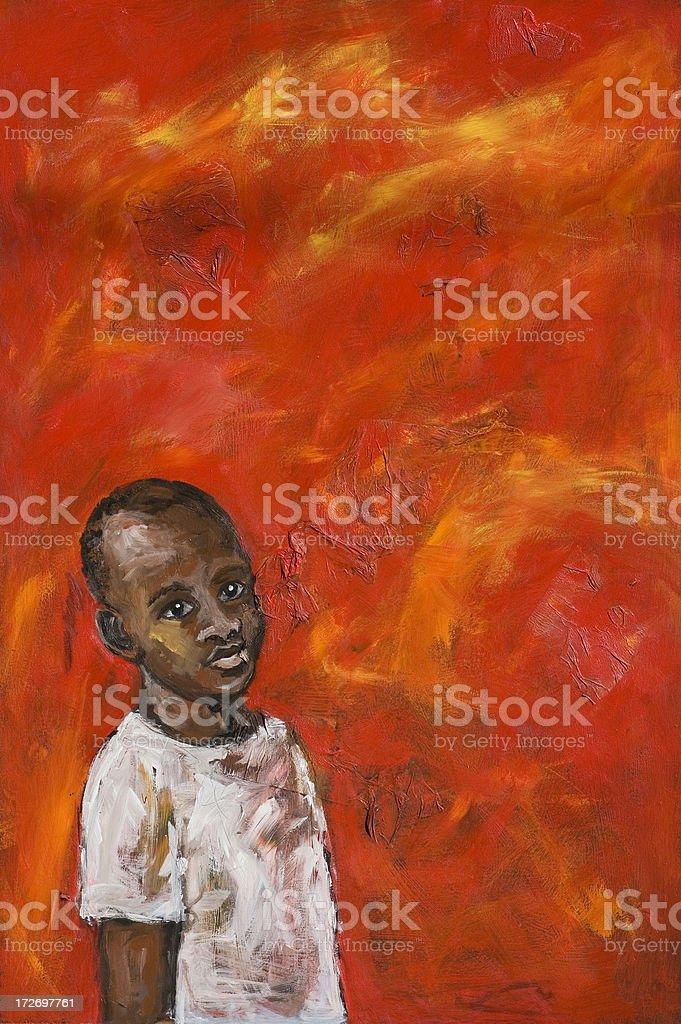 African boy on red background vector art illustration