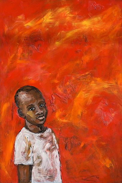 illustrazioni stock, clip art, cartoni animati e icone di tendenza di ragazzo africano su sfondo rosso - bambine africa