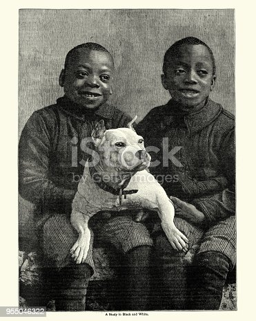 Vintage engraving of African boys with their pet dog, 19th Century