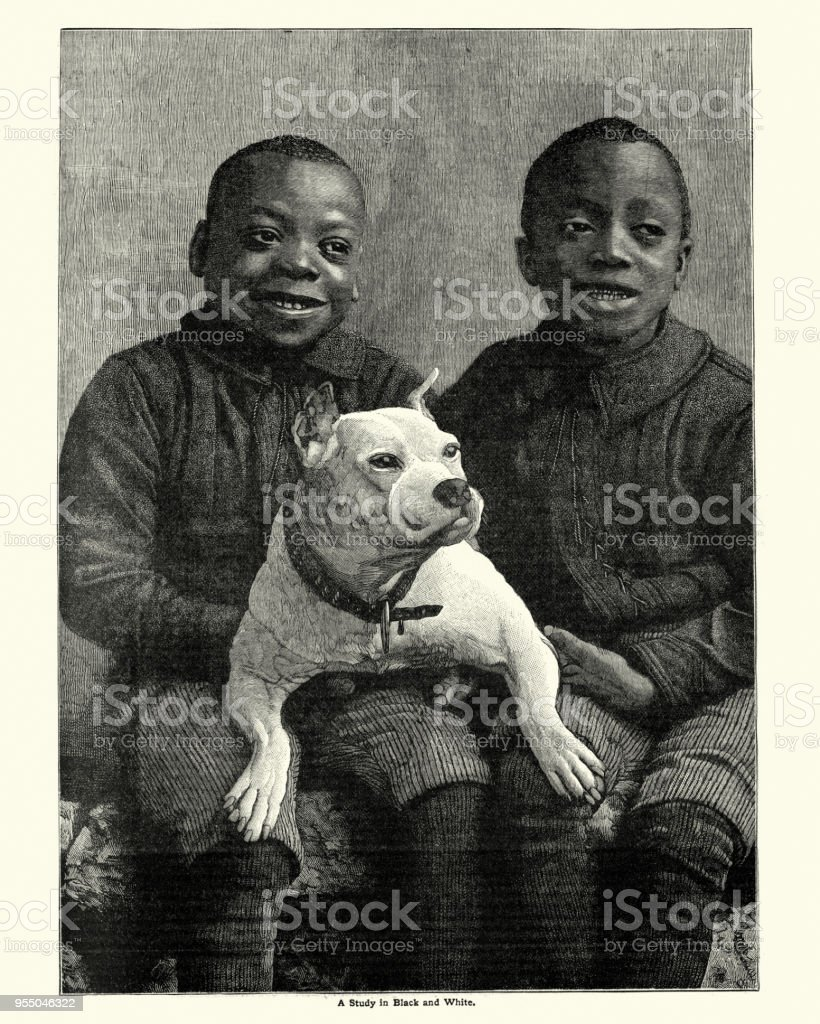 African boys with their pet dog, 19th Century vector art illustration