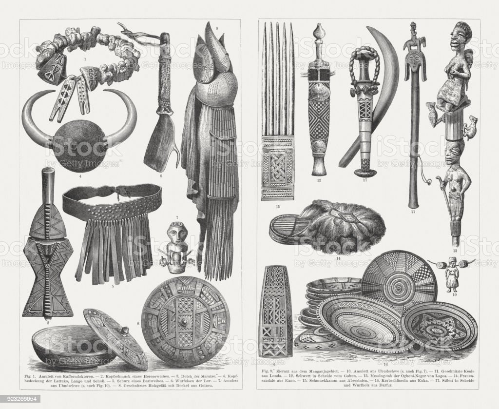 African culture devices and products, wood engravings, published in 1897 vector art illustration