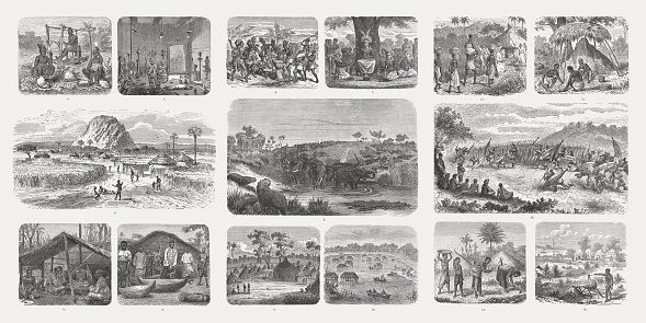 African culture, wood engravings, published in 1893