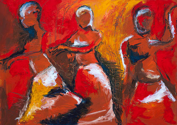 african dancers - oil painting stock illustrations