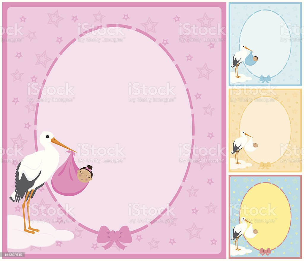 African descent baby being held by a stork sign/frame. royalty-free african descent baby being held by a stork signframe stock vector art & more images of advertisement