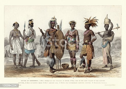 Vintage colour engraving of Traditional African fashions, natives of Senegambia, Peul woman of Kouar, Peul in war costume, Zulu in visiting dress, Zulu dancing girl, Young Zulu in marriage dancing costume, Bechuana woman. 1870s