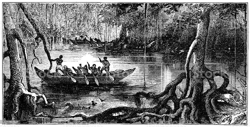 African mangrove swamp with canoe vector art illustration