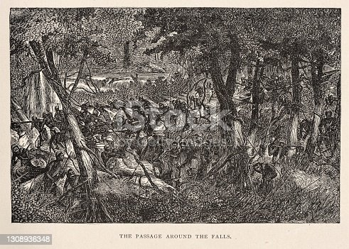 Indigenous people take a passage through the jungle around a waterfall in a river in 1870s Africa. Illustration published 1891. Source: Original edition is from my own archives. Copyright has expired and is in Public Domain.