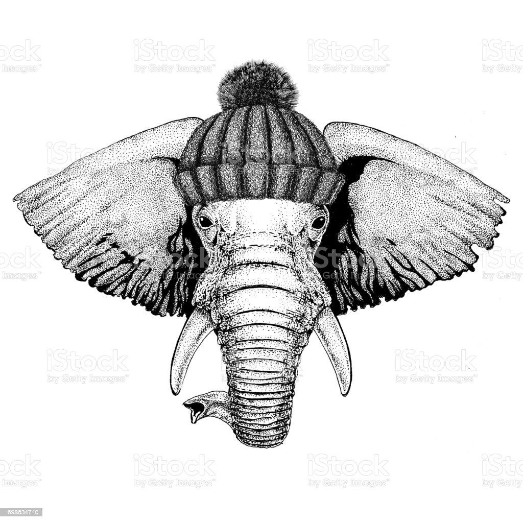 Ilustración de Elefante Africano O Indio Con Invierno Sombrero Hecho ...