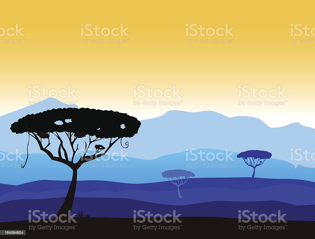African safari background with mountain and black acacia tree silhouette royalty-free stock vector art