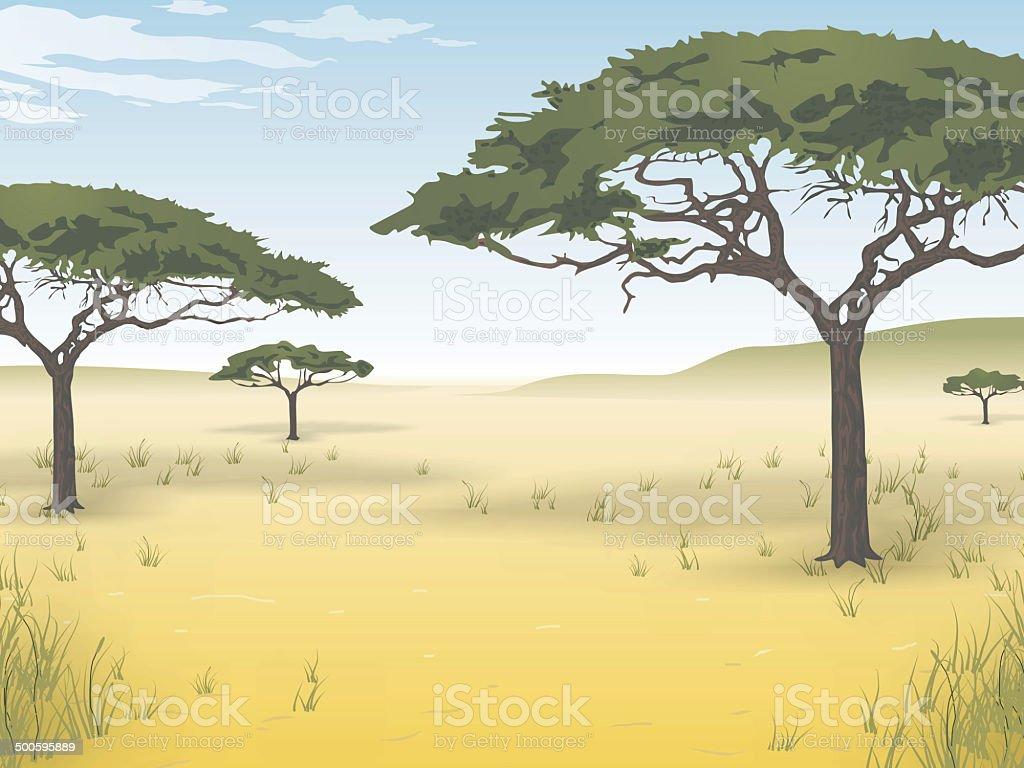African savanna vector art illustration