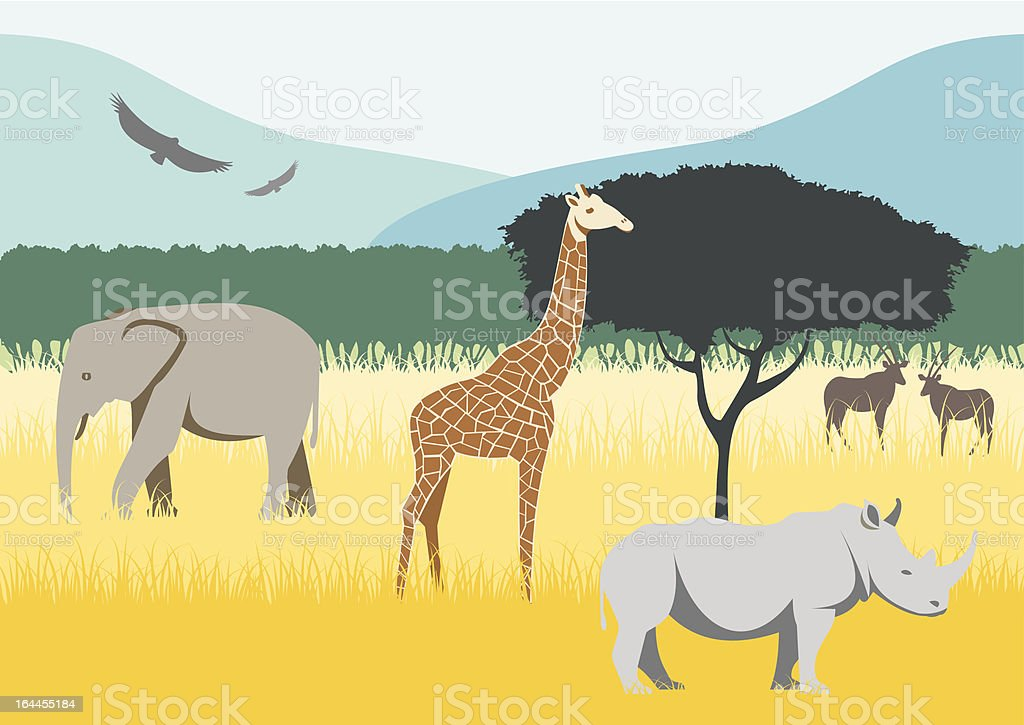 African Savannah royalty-free stock vector art