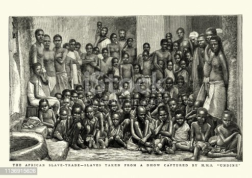 Vintage engraving of African slave trade, Freed slave rescued by HMS Undine, 1884