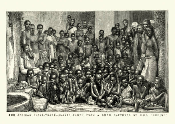 African slave trade, Freed slave rescued by HMS Undine, 1884 vector art illustration